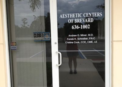 Aesthetic Centers of Brevard Door Lettering