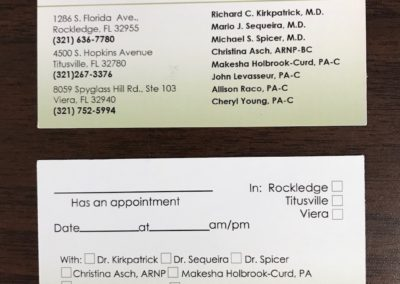 Brevard Skin & Cancer Center Appointment Card