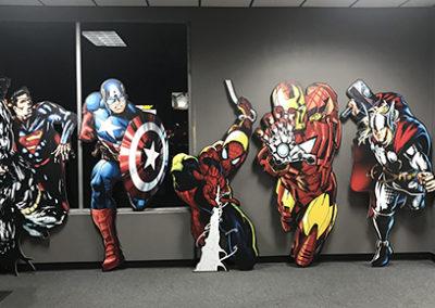 Captain America, Thor, Spiderman, Iron Man, and Batman-Superman Wood Prints
