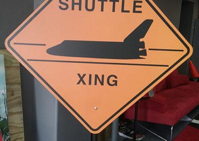 Shuttle Crossing Aluminum Reflective Sign