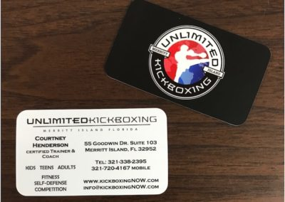 Unlimited Kickboxing Business Card with Spot UV & Rounded Corners